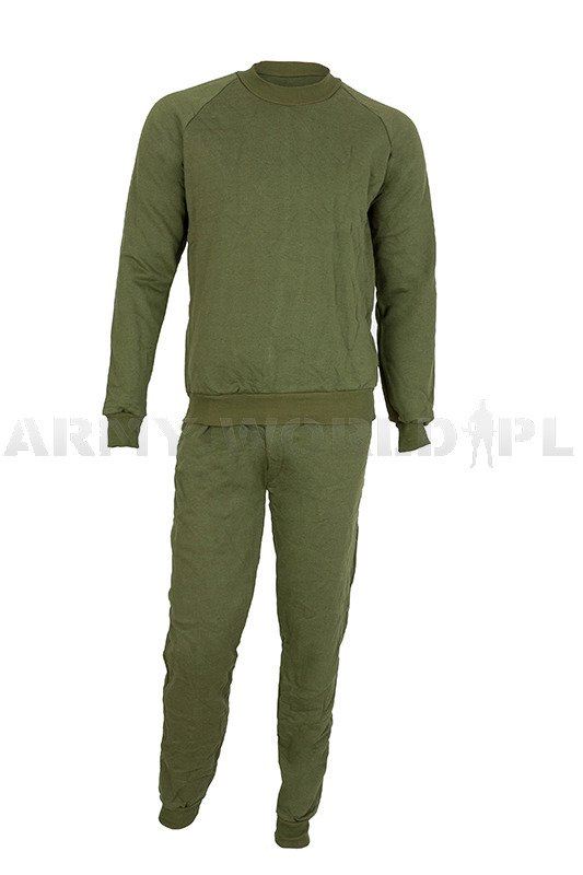 Military Tracksuit Polish Army / Undersuit Shirt + Pants Original Oliv Used - II Quality