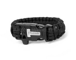 Paracord Bracelet With A Firestarter And A Whistle Bushmen Black New