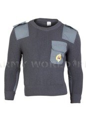Czech Military Sweater Woolen Grey With a Badge Original Military Surplus