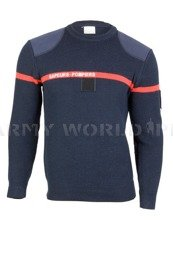 French Firefighter Woolen Sweater Navy Blue with A Strap Oryginal Used