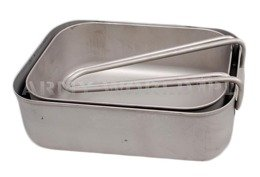 Military Dutch Mess Kit Two-Pieces Stainless Steel Original Demobil
