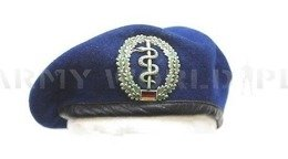 Military German Blue Beret With Decoration of Medics SANITÄTSTRUPPE Original Demobil