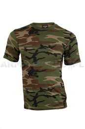 Military T-shirt Woodland Short sleeves Mil-tec New