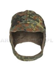 Military Ushanka Cap Bundeswehr Flecktarn Demobil SecondHand