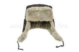 "Military Winter Cap ""Uszatka"" Polish Air Force With Fur Black Original Used Perfect Condition"