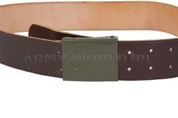 Officer's Leather Belt ZSRR Dark Brown Plain Buckle Demobil M2