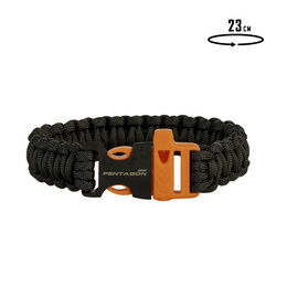 Paracord Bracelet With A Whistle Pselion Pentagon Black-Orange New