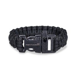 Paracord Bracelet With a Whistle Pselion Pentagon Black