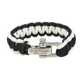 Paracord Survival Bracelet Pentagon 2. Black-White New