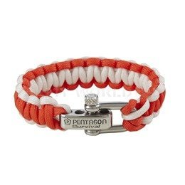 Paracord Survival Bracelet Pentagon 2. Red-White New
