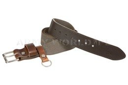 Webbing Belt With Leather Brown New
