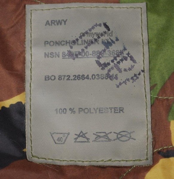 Blanket Deka Poncho Liner DPM Dutch Original Unused
