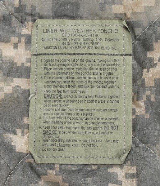 Blanket Deka Poncho Liner US Army ACU Original New