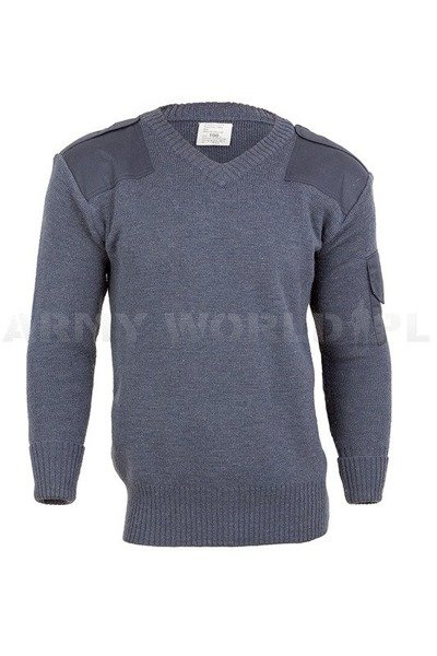 British Army V-Neck Wool Sweater RAF Grey Original Used