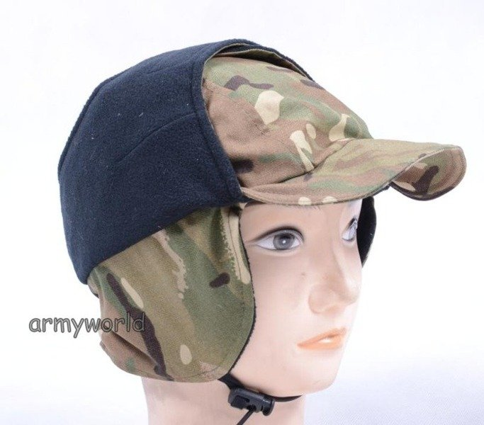 British Military Ushanka Cap MTP (Multi Terrain Pattern) With Fleece Original New