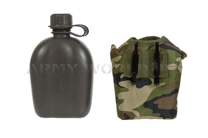 Canteen with Case Woodland 1 Liter Mil-tec New