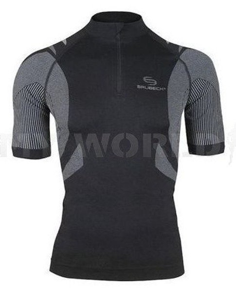 Cycling Seamless Zip-Neck Top - Unisex FIT BRUBECK Black New SALE