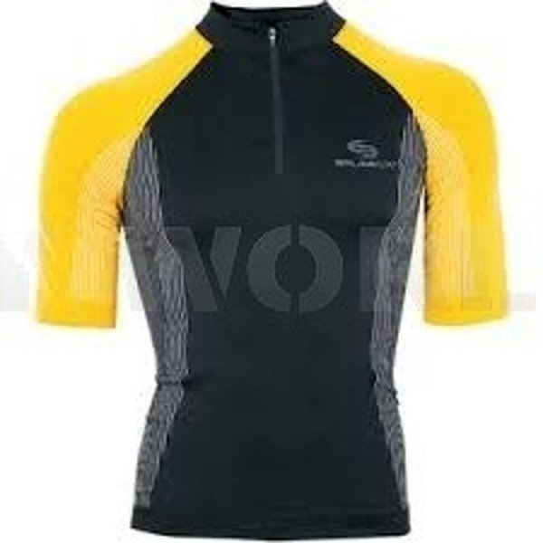 Cycling Seamless Zip-Neck Top - Unisex FIT BRUBECK Black/Yellow New SALE