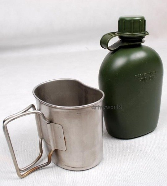 Dutch Military Canteen With Cup And Cover 3-Color Original Demobil