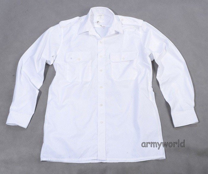 Dutch Military Gala Shirt White Without a Pocket Long Sleeves Original Used