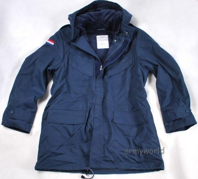Dutch Military Jacket Parka With Emblem Dark Blue Original New