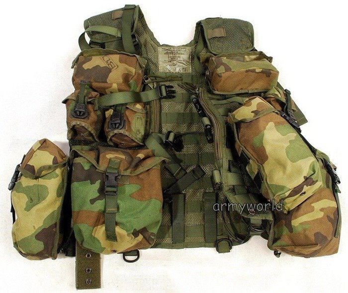 Dutch Military Modular Vest With Set of Pouches Woodland Original Demobil
