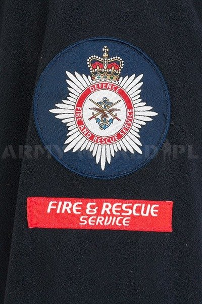 Fire and Rescue Service Fleece Jacket Great Britain Navy Blue/ Red Original Used