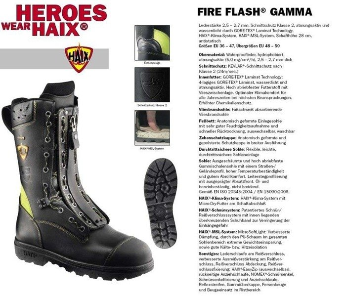 Firemen's shoes Goretex HAIX ®  Fire Flash Gamma Bundeswehr New