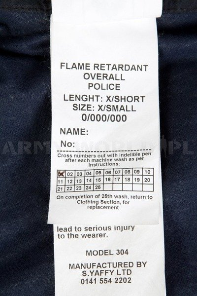 Flare retardant Police Overall British Model 304 With Navy Blue Original Used