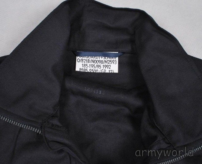 German Military Navy Shirt With Stand-up Collar Black Original NEW