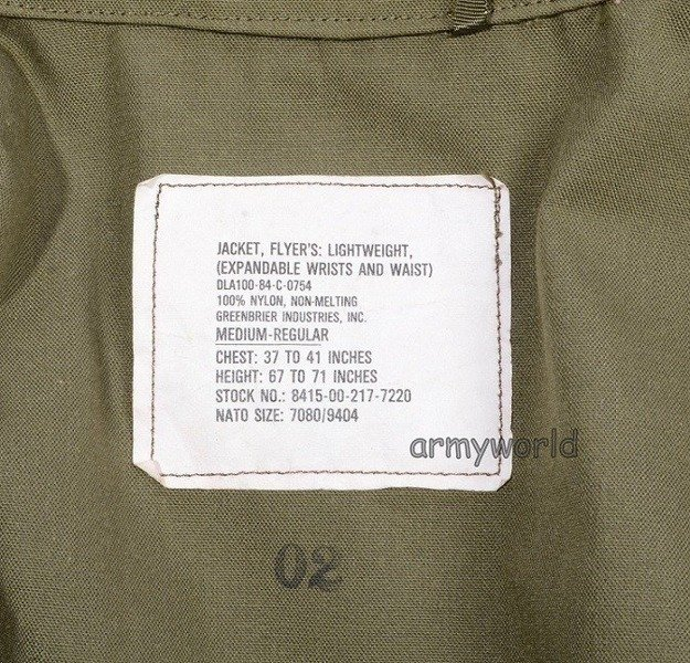 Military American Jacket CWU Lightweight US ARMY Oliv Original New