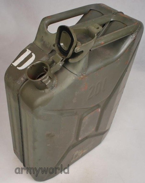 Military Austrian Metal Petrol Can 20Liters Original Demobil