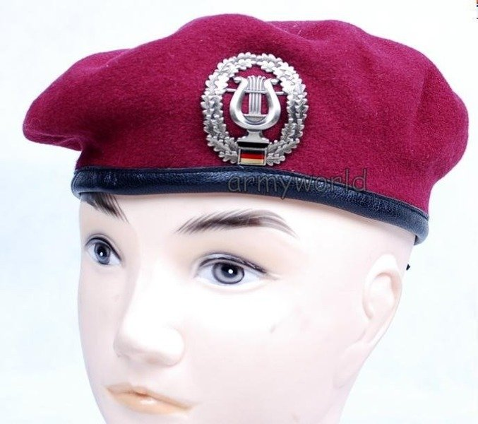 Military Beret Bundeswehr Clared With Decoration Of Music Corps Original Demobil