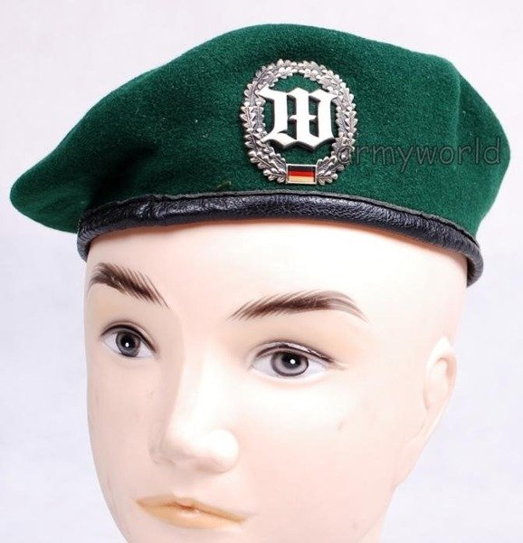 Military Beret Bundeswehr Green With Decoration Of Honor Guard Original Demobil