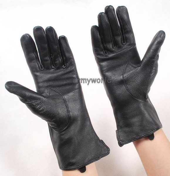 Military Dutch Leather Gloves Black Original New
