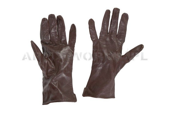 Military Dutch Leather Gloves Brown Used