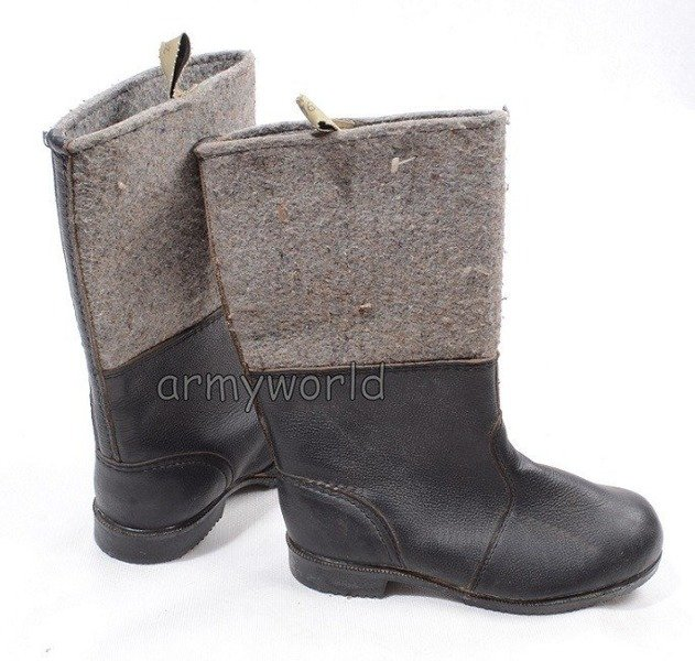 Military German Winter Wellingtons (leather & felt) To Reconstruction Original Demobil SecondHand