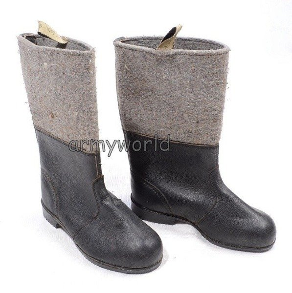 Military German Winter Wellingtons (leather & felt) To Reconstruction Original Unused