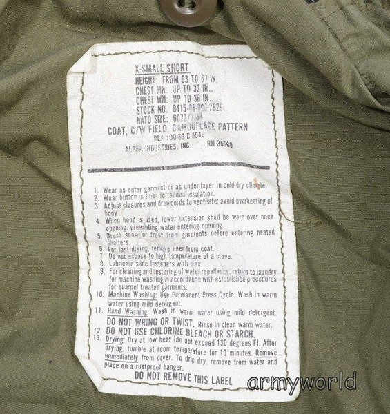 Military Jacket Model M65 US Army Woodland Original Demobil