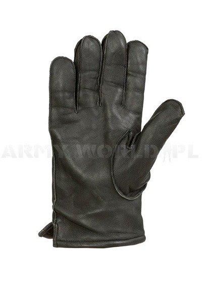 Military Warmed Dutch Leather Gloves Black M5 Used