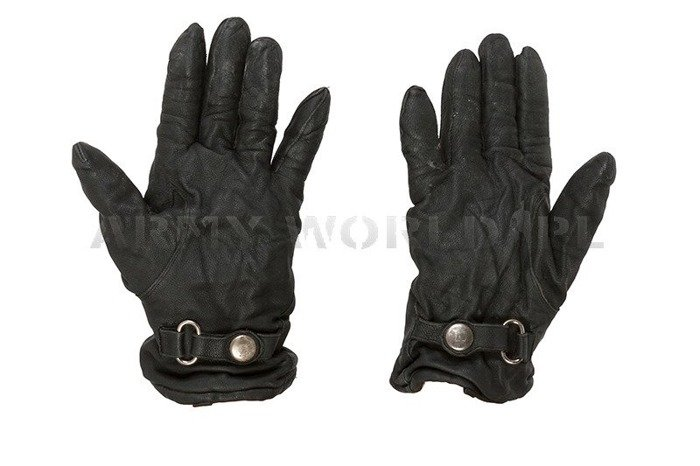 Military Warmed Dutch Leather Gloves Black Used