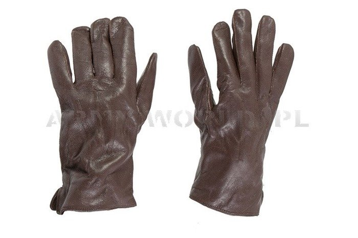 Military Warmed Dutch Leather Gloves Laimbock Brown Used
