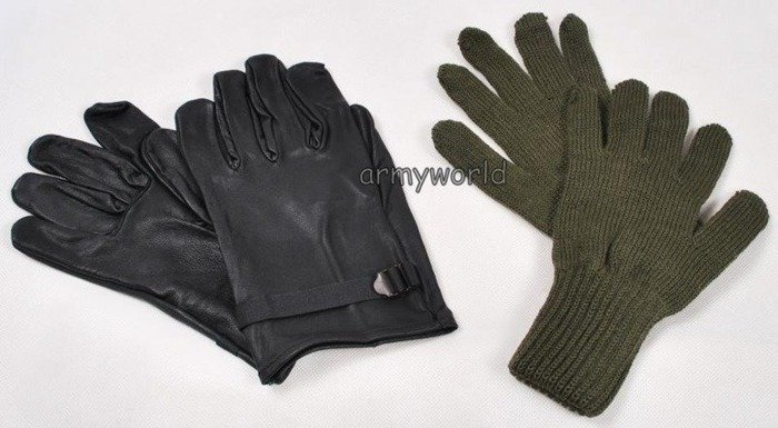 Military Warmed Leather Belgian Gloves Original New