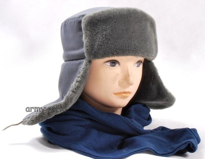 Officer's Ushanka Cap NVA DDR Grey Original New
