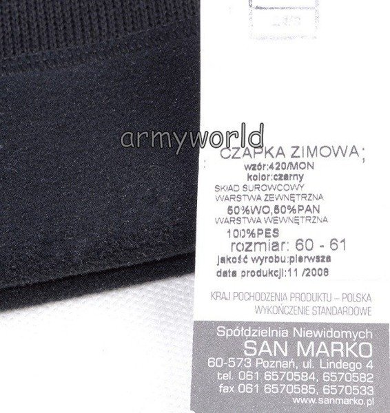Polish Military Winter Cap 420/MON Original New
