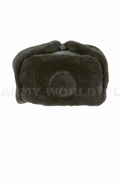 Polish Military Winter Cap Ushanka Cap Civil Defense PRL Black Original New
