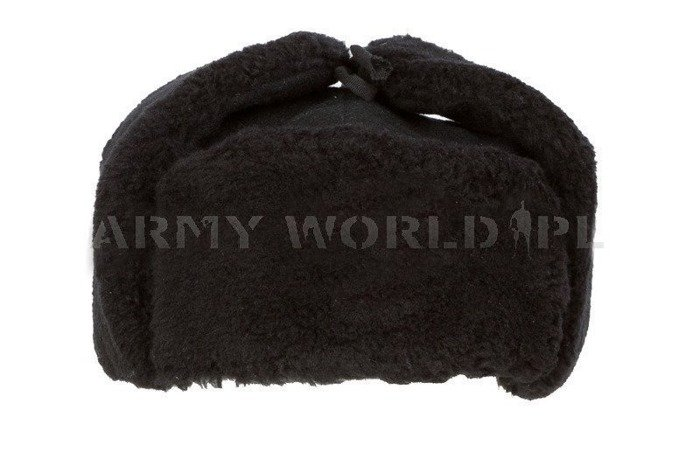 Polish Military Winter Cap Ushanka Cap WP Black Original Used Without Indication