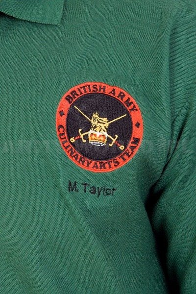 Polo Shirt British Army With Badge Culinary Arts Team Green Used