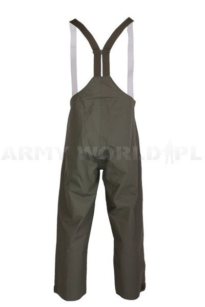 Rainproof Trousers Gore-tex Bundeswehr With Braces Oliv Original New