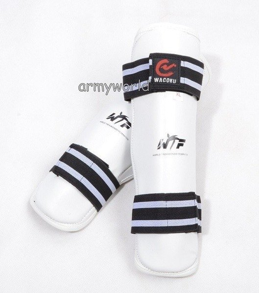 Shin Protectors  World Taekwondo Federation White New